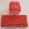 knitted headband and mug cosy
